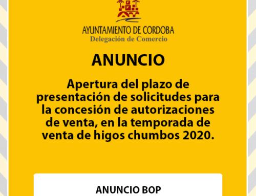 Apertura del plazo de presentación de solicitudes para la concesión de autorizaciones de venta, en la temporada de venta de higos chumbos 2020.