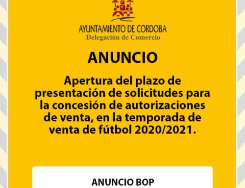 Apertura del plazo de presentación de solicitudes para la concesión de autorizaciones de venta, en la temporada de venta de fútbol 2020/2021.