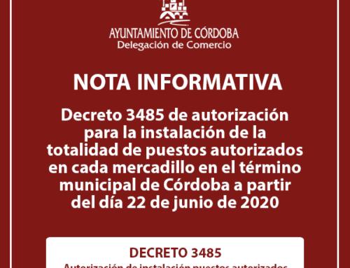 Decreto de autorización de la totalidad de puestos en los mercadillos municipales