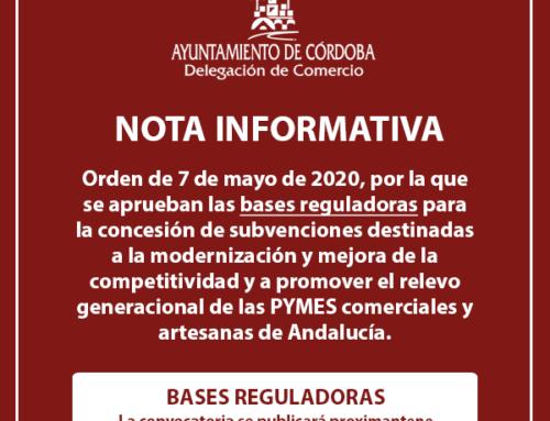 Convocatoria de subvenciones destinadas a PYMES comerciales y artesanas de Andalucía.