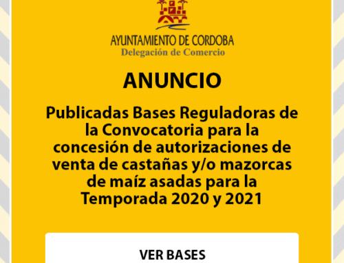 Bases Reguladoras de la Convocatoria para la concesión de autorizaciones de venta de castañas y/o mazorcas de maíz asadas para la Temporada 2020 y 2021.