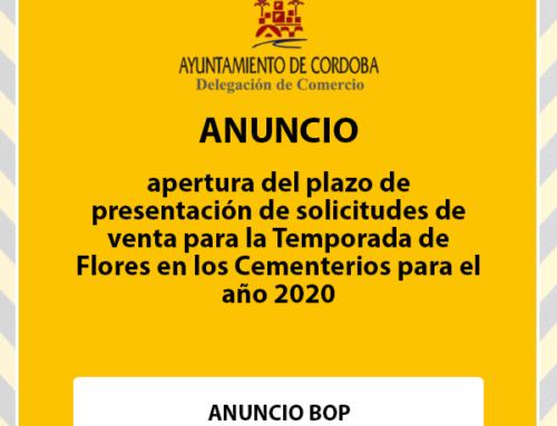 Apertura del plazo de presentación de solicitudes de venta para la Temporada de Flores en los Cementerios para el año 2020