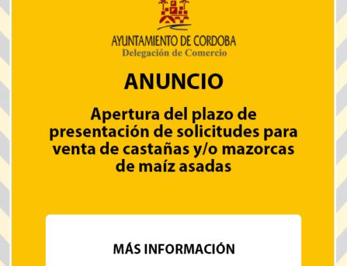 Apertura del plazo de presentación de solicitudes para venta de castañas y/o mazorcas de maíz asadas