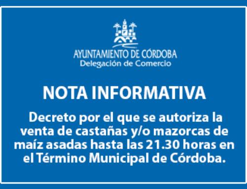 Decreto que autoriza la venta de castañas y/o mazorcas de maíz asadas hasta las 21:30 horas.