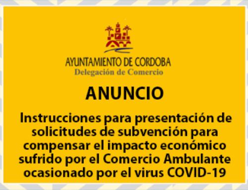 Instrucciones para la presentación de solicitudes de subvención para compensar el impacto económico sufrido por el Comercio Ambulante ocasionado por el virus COVID-19