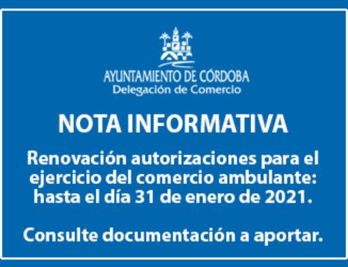 Renovación autorizaciones para el ejercicio del comercio ambulante