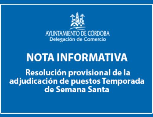 Publicación de la resolución provisional de la adjudicación de puestos Temporada de Semana Santa