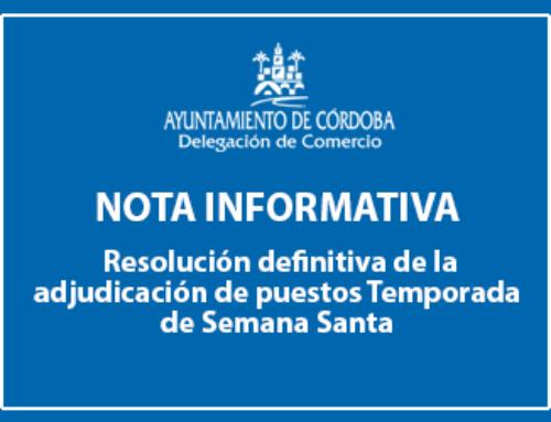 Publicación de la resolución defintiva de la adjudicación de puestos Temporada de Semana Santa