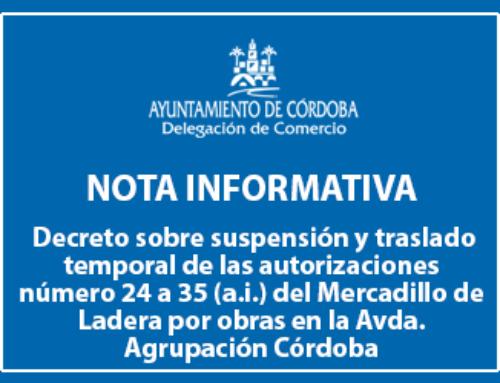 Decreto sobre suspensión y traslado temporal de las autorizaciones número 24 a 35 (a.i.) del Mercadillo de Ladera por obras en la Avda. Agrupación Córdoba